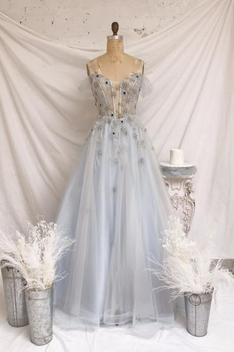 Blue tulle long prom dress blue A line evening dress