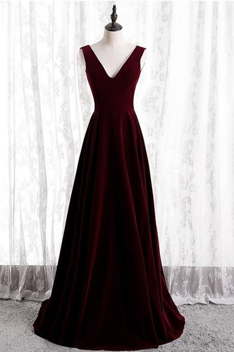 Burgundy v neck velvet long prom dress A line evening dress