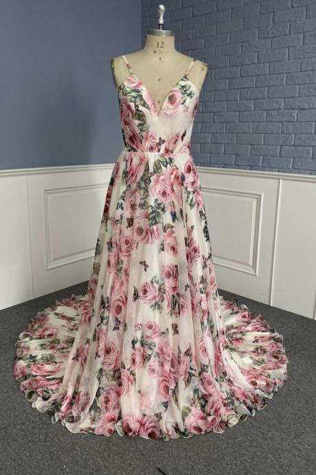 Stylish v neck floral pattern prom dress A line evening dress