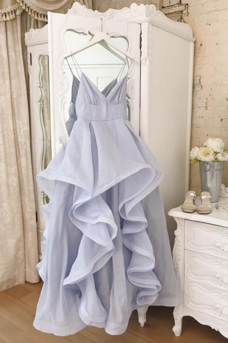 Blue A line long prom dress blue evening dress
