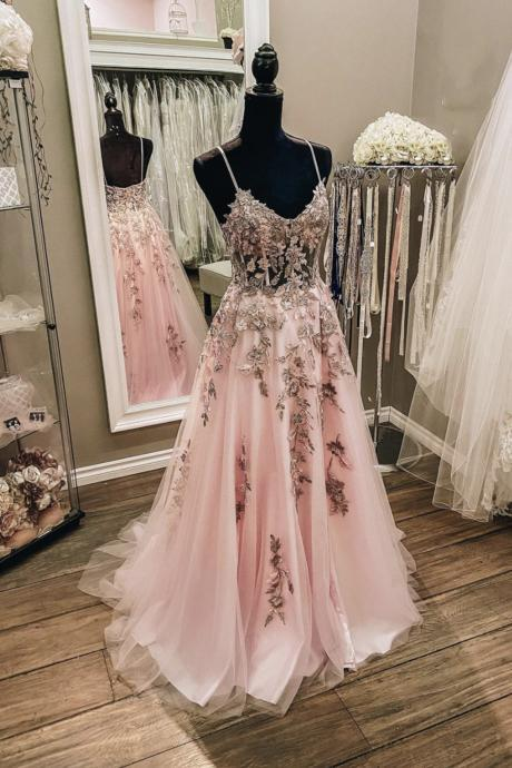 Pink lace long prom dress A line evening dress