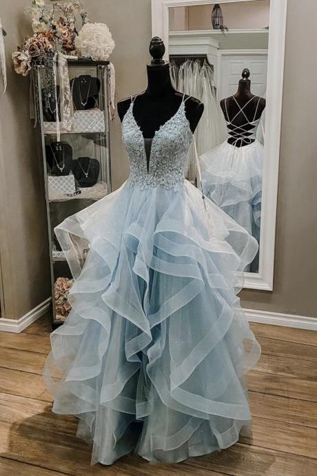 Blue lace long ball gown dress A line backless evening dress