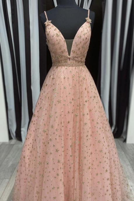 Pink tulle long prom dress with stars A line evening dress