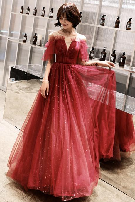 Stylish tulle sequins long A line prom dress evening dress
