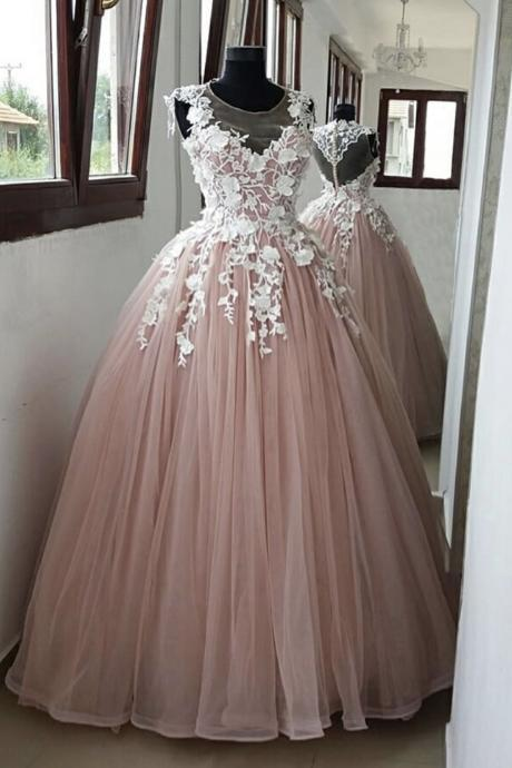 Pink lace tulle long ball gown dress pink evening dress