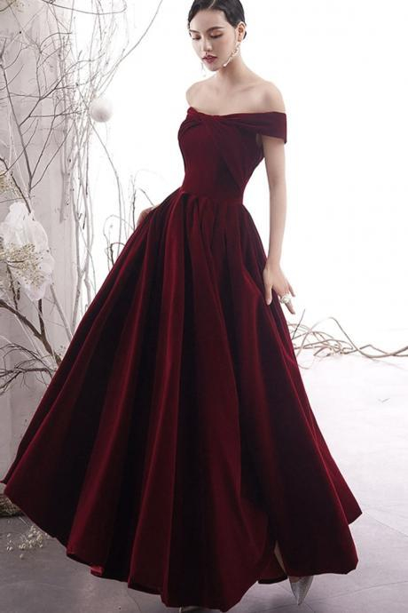 Burgundy velvet prom dress burgundy evening dress