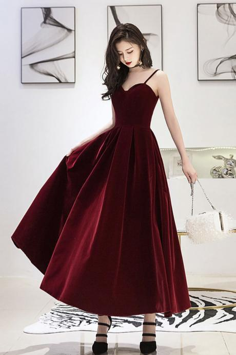 Burgundy velvet short prom dress burgundy evening dress