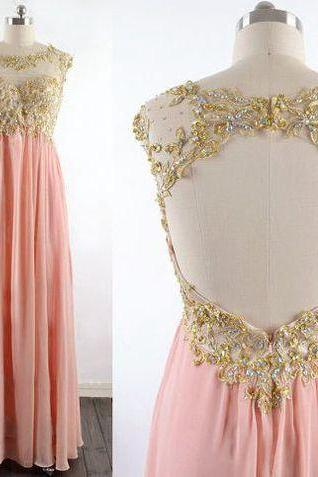 Light pink long prom dress,A-line sequins backless prom gowns,round neck evening dress