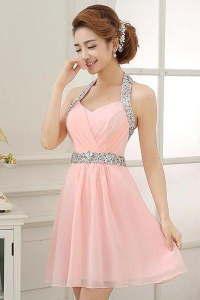 Pink chifffon homecoming dress, casual homecoming dress, affordable homecoming dress, dresses for prom