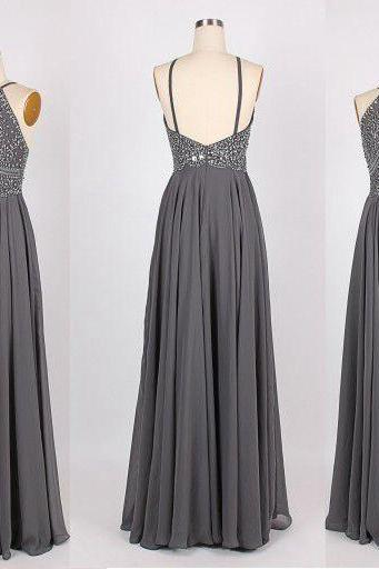 Grey prom dress, backless prom dress, beautiful prom dress, prom dresses 2016