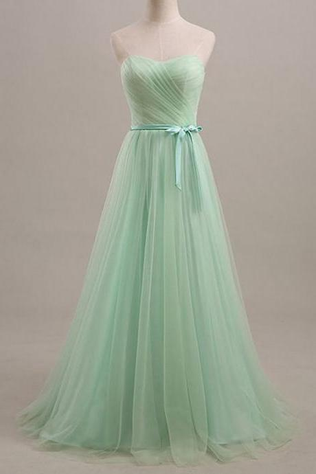 Mint Green Strapless Sweetheart Ruched Tulle A-line Long Prom Dress, Evening Dress Featuring Lace-Up Back