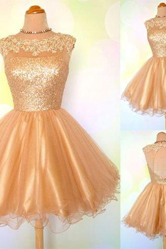 Gold sequin homecoming dress, open back short prom dress dress, scoop neck lace homecoming dress, cheap evening dress