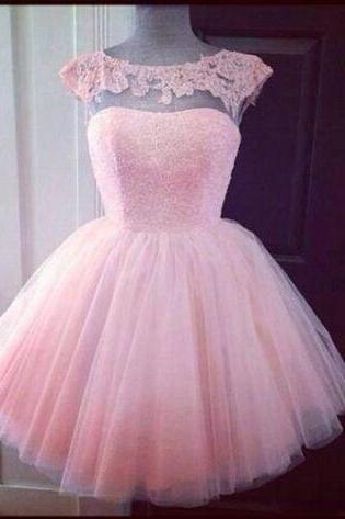 Mini pink ball gown ,green lace homecoming dresses, short prom dresses