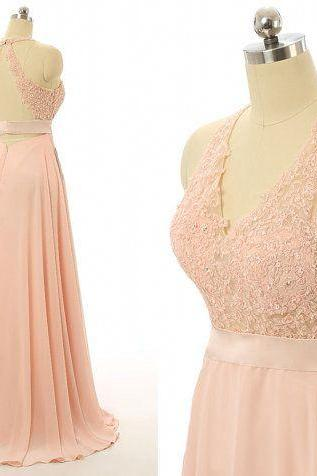 Peach prom dresses, Lace backless bridesmaid dresses, cheap prom dress,evening dresses