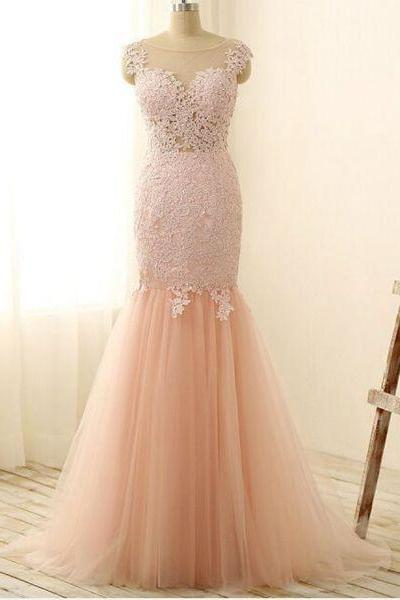 Light pink prom dress,pink tulle lace long prom dresses, mermaid applique evening dresses,cheap dress