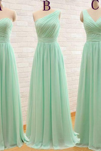 Mint green bridesmaid dresses,sweetheart bridesmaid dresses,V-neck bridesmaid dresses,one shoulder bridesmaid dresses,A-line chiffon long prom dress,bridesmaid dresses