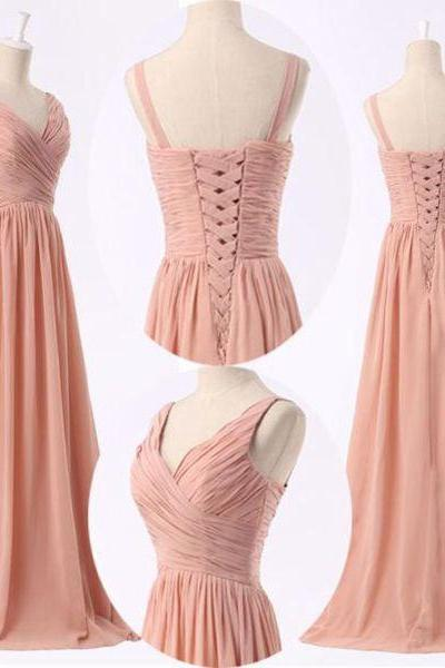 Bridesmaid dresses,peach plus size bridesmaid dresses,peach pink simple prom dress, bridesmaid dresses 2016