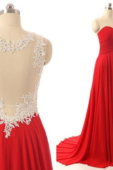 Red dresses,lace top prom dress,sweetheart chiffon long prom dresses evening dress