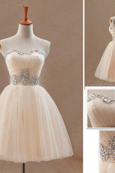 Short prom dress, homecoming dress,sweetheart strapless dress,A-line champagne beading evening dress,formal dresses