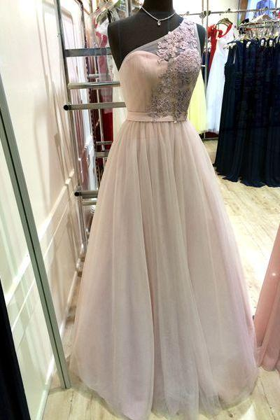 One shoulder prom dresses 2016,A-line decals long prom dress,chiffon tulle evening dress formal dress for teens