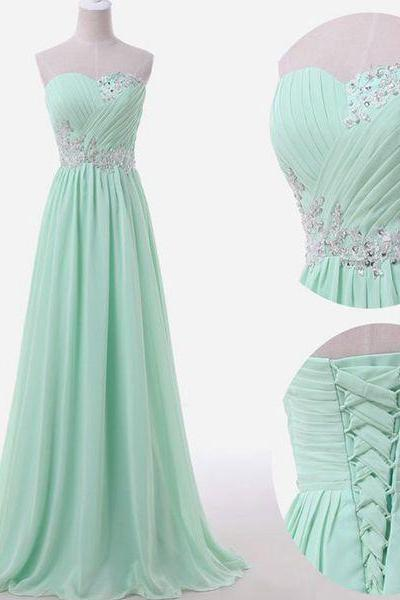 Mint green prom dresses,sweetheart A-line chiffon long prom dresses,2016 bridesmaid dresses,mint green prom dresses