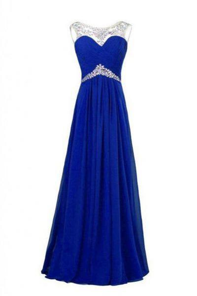 Royal blue beading long prom dresses,elegant beading chiffon prom dresses,2016 evening formal gowns