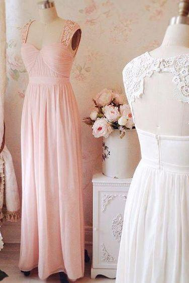 Pink lace long prom dresses,elegant A-line lace long evening dresses,pink open back formal dress,fashion dress for teens