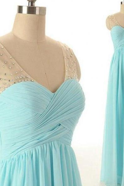 Light blue chiffon long prom dresses,elegant A-line sweetheart chiffon prom dresses,2016 evening formal gowns ,bridesmaid dress