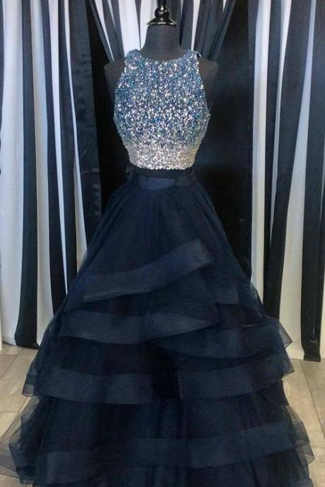 Custom made dark blue two pieces sequins long prom dress,dark blue evening dresses
