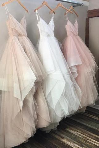 Custom made tulle A-line v neck long prom dress,evening dress,formal gown