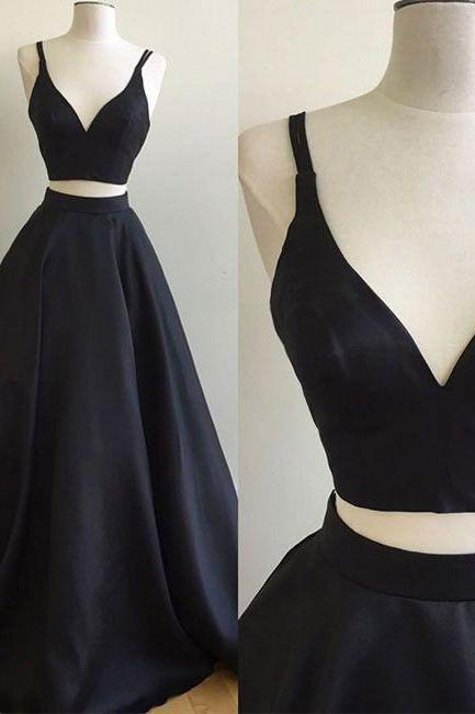 Black two pieces long prom dress,black evening dress,formal dresses