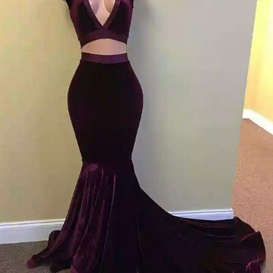 Purple v neck mermaid velvet long prom dress, two pieces evening dress