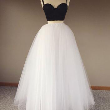 simple white and black tulle two pieces long prom dress, evening dress