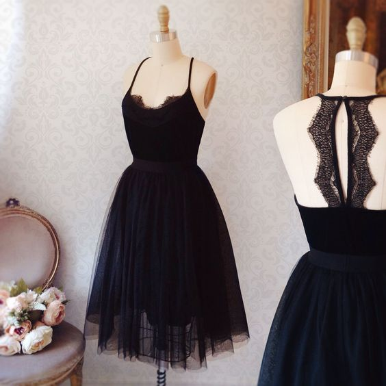 Simple black tulle short prom dress, black homecoming dress