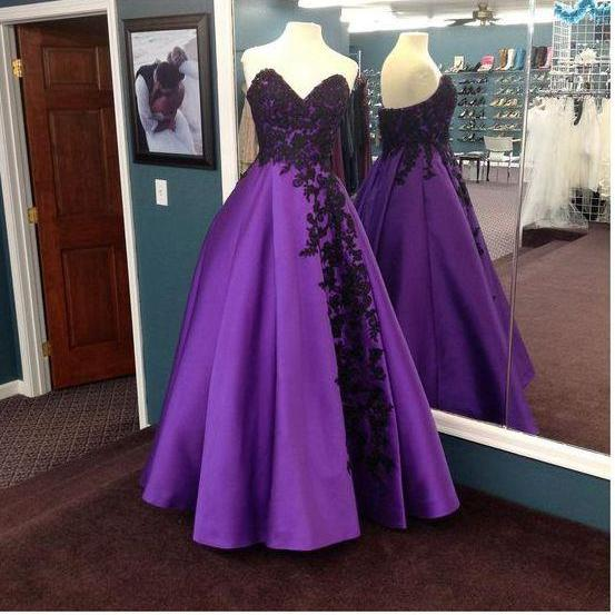 Purple strapless lace long prom dress, lace evening dress, ball gown
