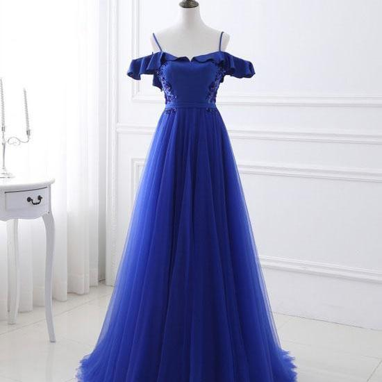Blue tulle off shoulder long prom dress, blue evening dress