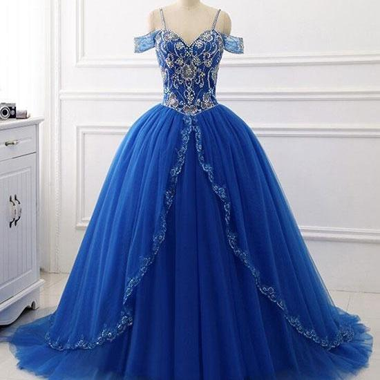 Blue sweetheart beads sequin long prom dress, blue evening dress