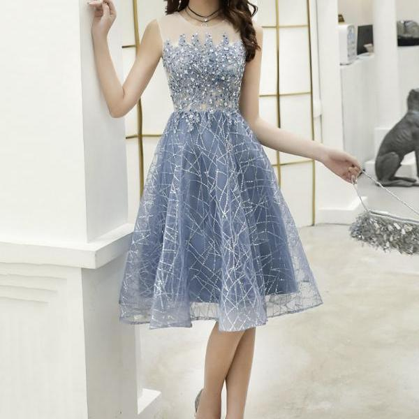 Blue lace sequins short prom dress homecoming dress