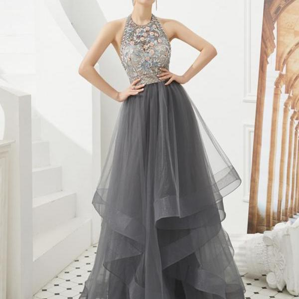 Gray tulle beads long ball gown dress formal dress