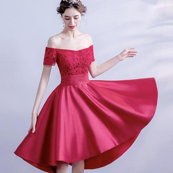 Red lace short prom dress high low evening dress
