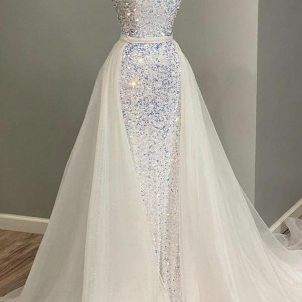 White sequins tulle long prom dress evening dress