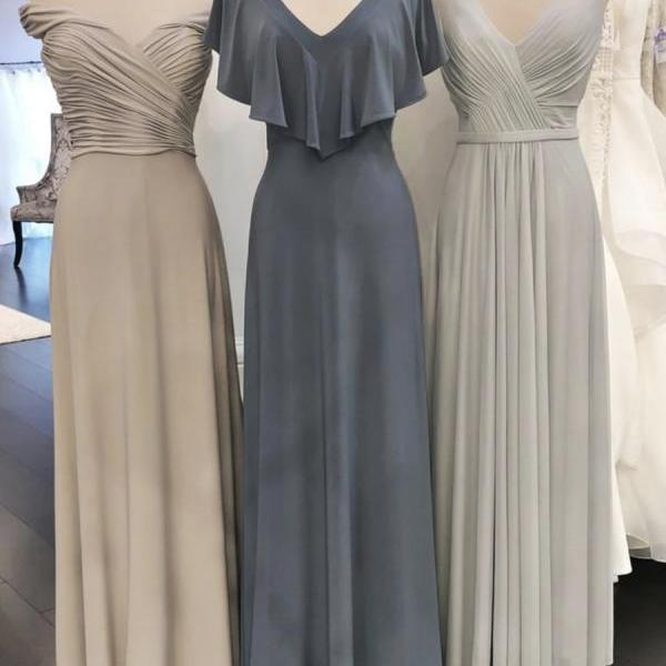 Simple chiffon long prom dress A line evening dress