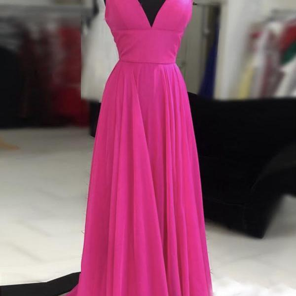 Rose red v neck chiffon long prom dress evening dress