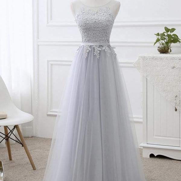 Gray tulle lace prom dress evening dress
