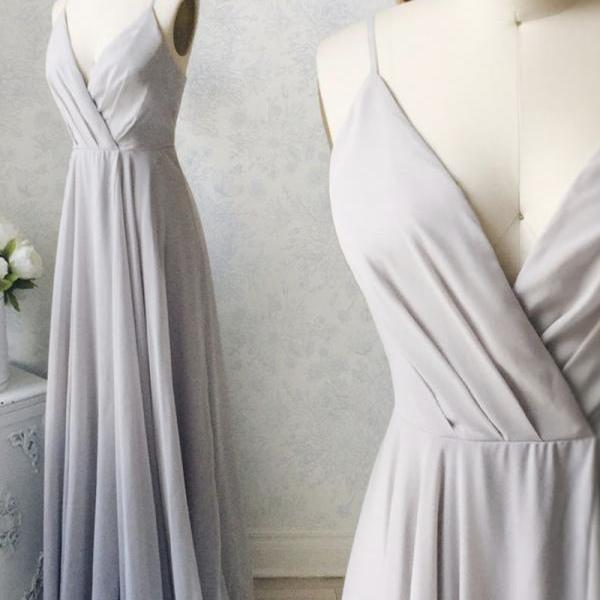 Gray v neck long prom dress evening dress