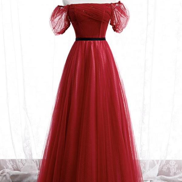 Burgundy tulle long prom dress evening dr
