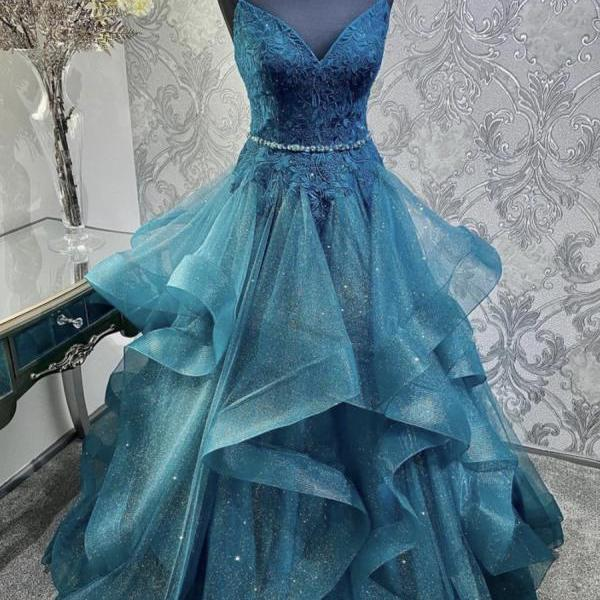 Blue tulle lace long prom gown formal dress