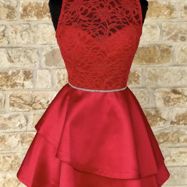 Red lace satin short prom dress homecoming dress