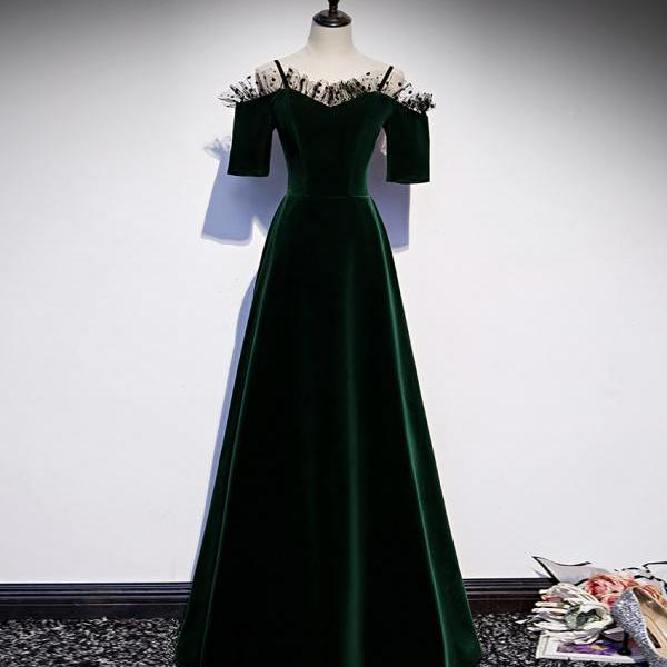 Green velvet long prom dress green evening dress