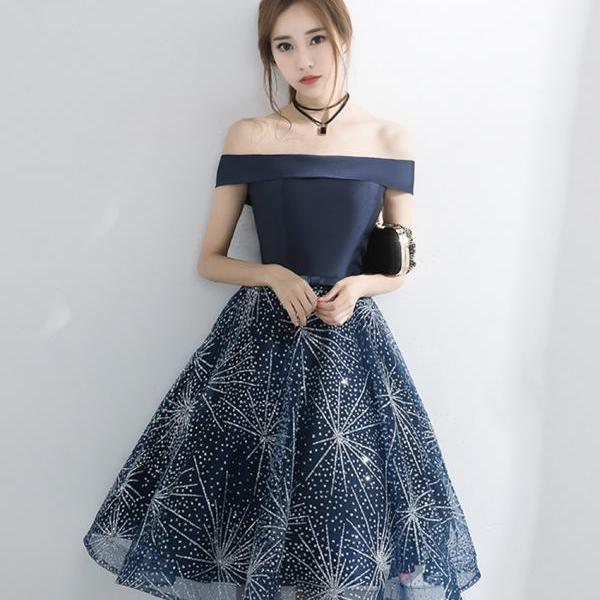 Cute tulle sequins short prom dress homecoming dress
